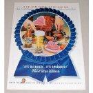1946 Pabst Blue Ribbon Beer Ham Dinner Color Print Ad