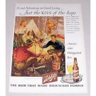 1946 Schlitz Beer Outdoor Camping Art Color Print Ad