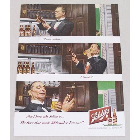1949 Schlitz Beer Color Art Print Ad - Sampling Beer