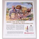 1944 Budweiser Beer Horses Stagecoach Art Color Print Ad - Share The Ride Today