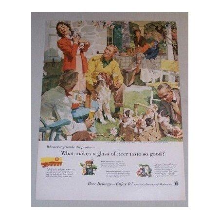 1955 Beer Belongs Series #107 Color Art Print Ad