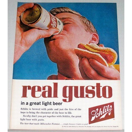 1962 Schlitz Beer Can Color Print Ad - Real Gusto