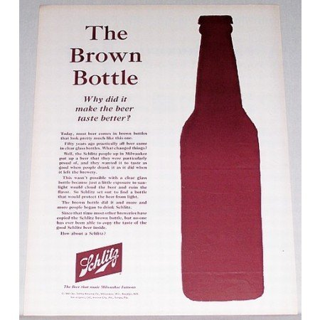 1961 Schlitz Beer Color Print Ad - The Brown Bottle
