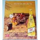 1962 Miller High Life Beer Beach Picnic Color Print Ad