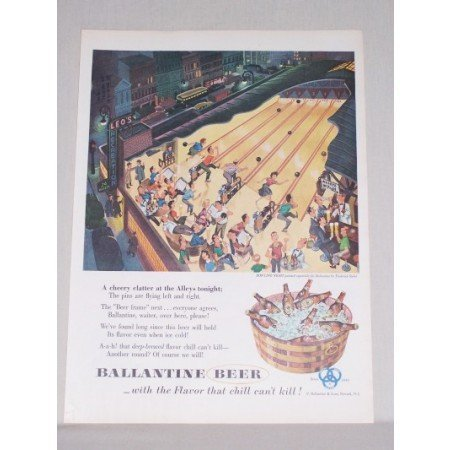 1953 Ballantine Beer Bowling Night Siebel Art Color Print Ad
