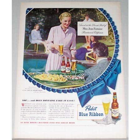 1948 Pabst Blue Ribbon Beer Color Print Ad Celebrity Joan Fontaine