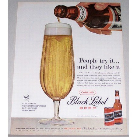 1960 Carling Black Label Beer Color Print Ad