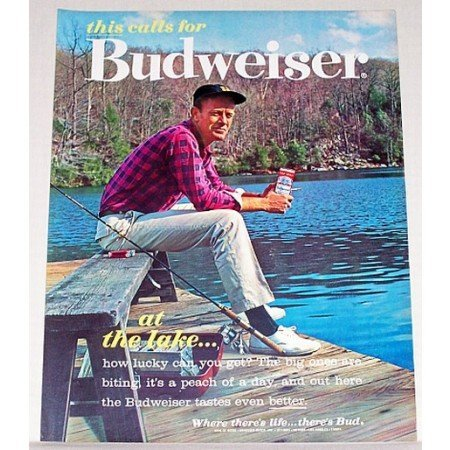 1962 Budweiser Beer Outdoors Fishing Color Print Ad - At The Lake