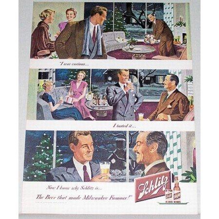 1948 Schlitz Beer Color Art Print Ad