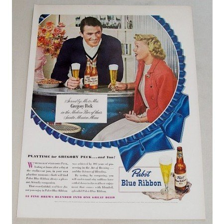 1948 Pabst Blue Ribbon Beer Color Print Ad Celebrity Gregory Peck