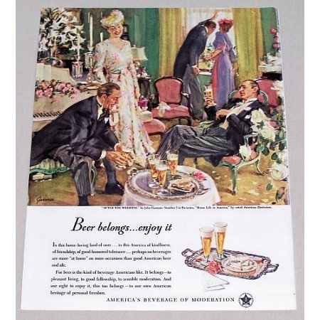 1947 Beer Belongs Series #5 Art Color Print Ad - After The Wedding
