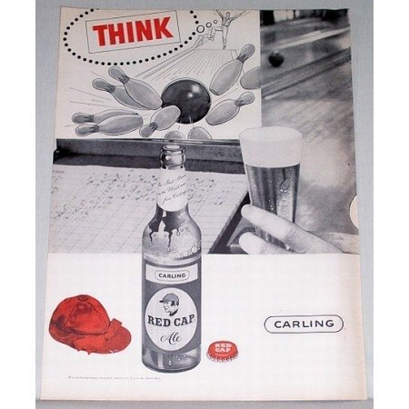 1956 Carling Red Cap Ale Bowling Print Ad