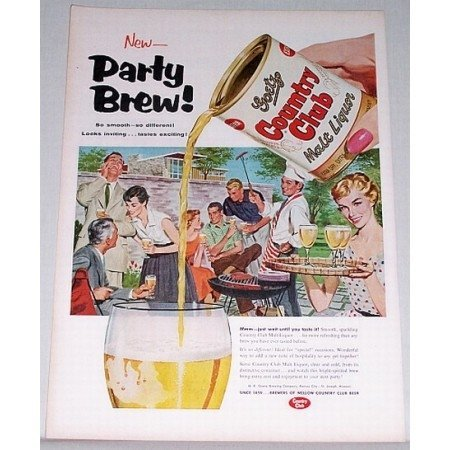 1955 Goetz Country Club Malt Liquor Color Art Print Ad - Party Brew