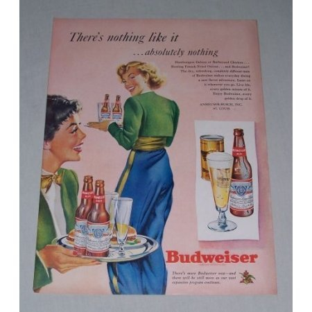 1949 Budweiser Beer Waitresses Color Art Print Ad