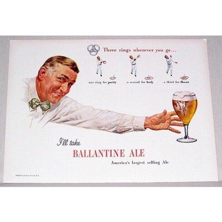 1947 Ballantine Ale Color Art Print Ad - Three Rings