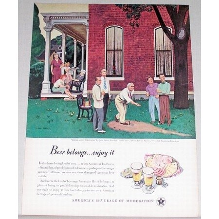 1947 Beer Belongs Series #7 Horseshoe Pitching Art Color Print Ad