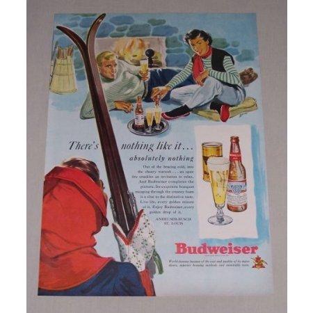 1949 Budweiser Beer Snow Skiing Art Color Print Ad