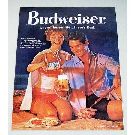 1960 Budweiser Beer Beach Picnic Color Ad - Three's Company