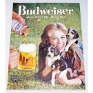 1960 Budweiser Beer Puppies Dogs Color Animal Print Ad - Count'em
