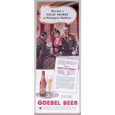 1945 Goebel Beer Color Print Ad - Washington's Mayflower