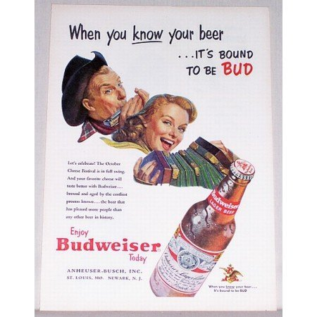 1953 Budweiser Beer Color Art Print Ad - October Cheese Festival