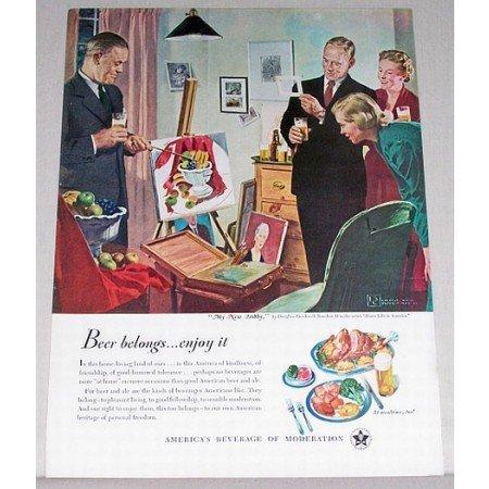 1950 Beer Belongs Series #38 Crockwell Art Color Print Ad - My New Hobby