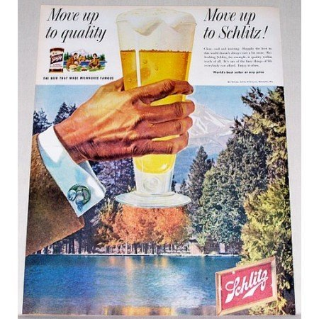 1958 Schlitz Beer Woods Lake Color Print Ad - Move up to Quality