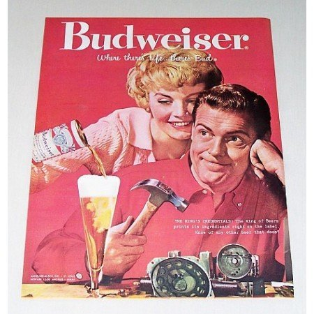 1959 Budweiser Beer Color Print Ad - The King's Credentials!