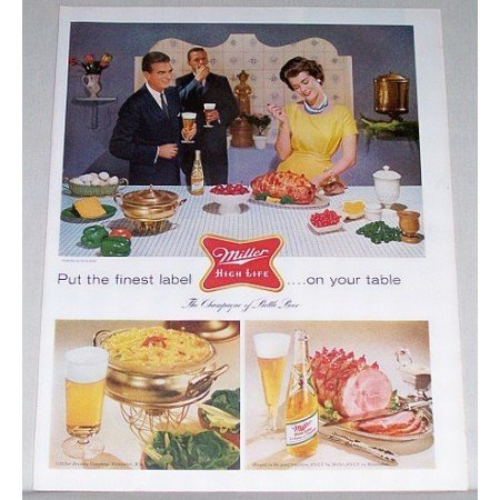 1960 Miller Beer Color Print Ad - Label On Your Table