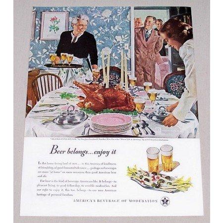 1947 Beer Belongs Series #10 Thanksgiving Dinner Color Print Ad