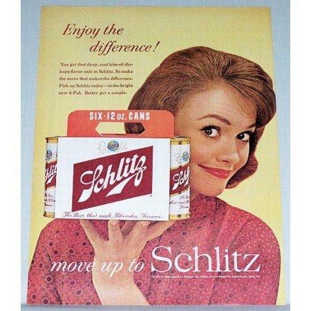 1961 Schlitz Beer 6 Pack 12oz Cans Color Print Ad