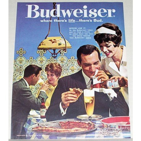 1961 Budweiser Beer Bud Pizza Color Print Ad - Nothing Like It