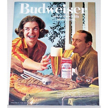 1961 Budweiser Beer Color Print Ad - Goodness Knows
