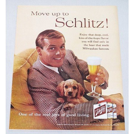 1960 Schlitz Beer Puppy Dog Color Animal Print Ad - Move Up To Schlitz!