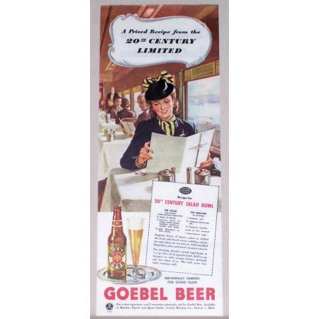 1945 Goebel Beer Color Print Art Ad - 20th Century Limited