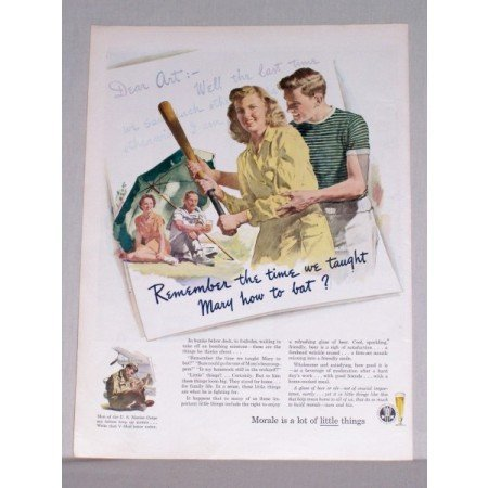 1944 Brewery Institute Baseball Art Color Print Ad - Taught Mary To Bat