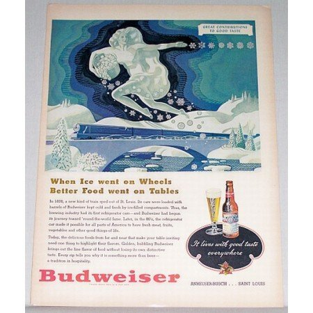 1948 Budweiser Beer Bud Color Art Print Ad - When Ice Went On Wheels
