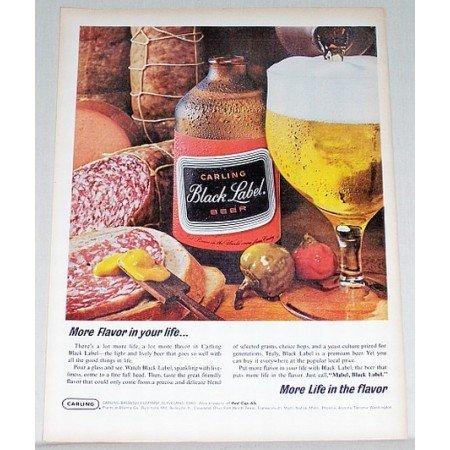 1965 Carling Black Label Beer Color Print Ad - Flavor For Life