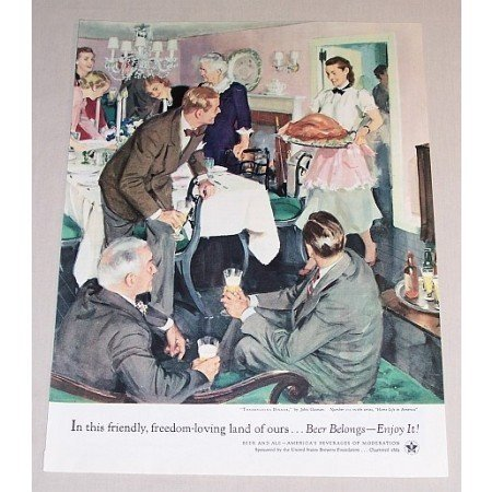 1954 Beer Belongs Series #101 Color Art Print Ad