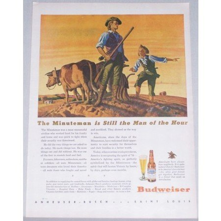 1944 Budweiser Beer Color Art Print Ad - The Minuteman