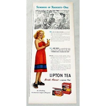 1947 Lipton Tea Color Print Ad Celebrity June Haver