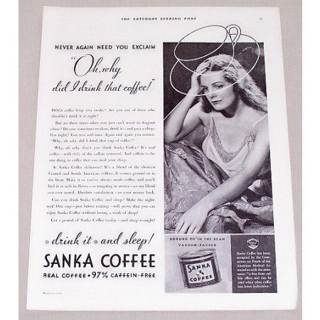 1932 Sanka Coffee Print Ad - Oh, Why Did I Drink That Coffee!
