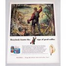 1949 Maxwell House Coffee Outdoor Woods Camping Art Color Print Ad - Day's End