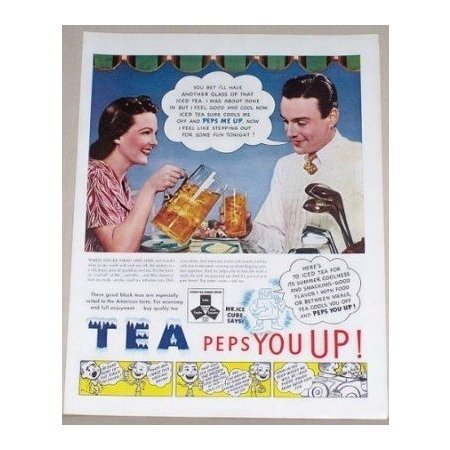 1939 Tea Color Golf Color Print Ad - Peps You Up!