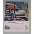 1949 Maxwell House Coffee Winter Scene Art Color Print Ad - What Magic