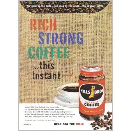 1959 Hills Bros. Instant Coffee Color Print Ad
