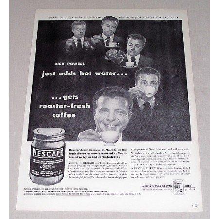 1946 Nescafe Coffee Print Ad Celebrity Dick Powell