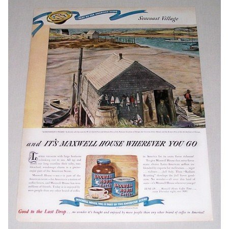 1946 Maxwell House Coffee Seacoast Village Art Color Print Ad