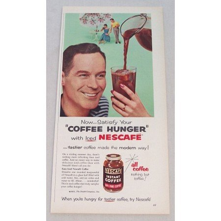 1955 Nescafe Coffee Color Print Ad - Satisfy Coffee Hunger
