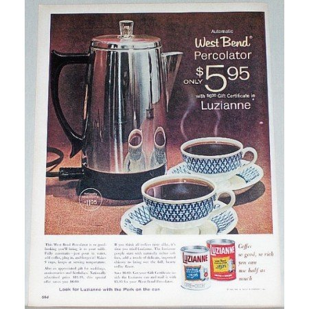 1961 Luzianne Coffee West Bend Percolator Offer Color Print Ad